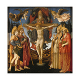 The Holy Trinity (Panel of the Pistoia Santa Trinità Altarpiec), 1455-1460 Giclée-tryk af Francesco Di Stefano Pesellino