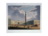 The Alexander Column. View from the Main Army Headquarters, 1840S Giclee Print by Louis Jules Arnout
