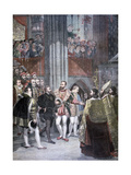 Charles I and Charles Quint in the Basilica of Saint Denis, Paris, 1893 Giclee Print by Antoine-Jean Gros