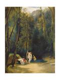 Women Bathing in the Park of Terni Giclee Print by Carl Blechen