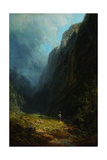In the Alpine High Valley (Landscape with Mt. Wendelstei), C. 1871 Gicleetryck av Carl Spitzweg