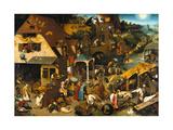 The Netherlandish Proverbs (The Blue Cloak or the Topsy Turvy World), 1559 Giclée-tryk af Pieter Bruegel the Elder