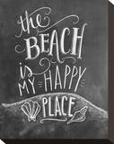 The Beach Is My Happy Place Stretched Canvas Print