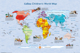 World Map Childrens Map Print