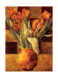 Checkered Tulips II Metal Print by Linda Thompson