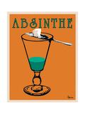 Reclameposter Absinthe, Franse tekst Kunst op metaal van Lee Harlem