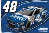 Jimmie Johnson One-Sided Flag with Car Flag