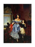 Portrait of Countess Julia Samoilova with Her Stepdaughter Amazillia Pacini and Black Boy Giclee Print by Karl Pavlovich Briullov