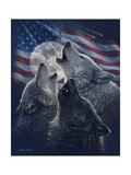 Wolf Trinity Patriotic Affiches par Collin Bogle