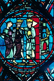 Constantine Greets Charlemagne at Constantinople, Stained Glass, Chartres Cathedral, France, C1225 Photographic Print