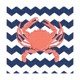 Crab Chevron Posters by Stephanie Marrott