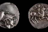 Emporiae Coin. Obverse: Head of Athena with Corinthian Helmet, 4th Century Bc Photographic Print