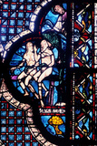 God Confronts Adam and Eve, Stained Glass, Chartres Cathedral, France, 1205-1215 Photographic Print