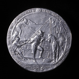 Medal Showing Henry Hudson Ascending the Hudson River to Albany in 1609 Photographic Print