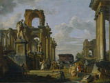 Architectural Capriccio of the Roman Forum with Philosophers and Soldiers Among Ancient Ruins Photographic Print by Giovanni Paolo Panini
