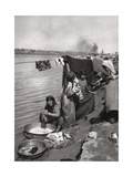 Washerwomen on the Banks of the Tigris, Baghdad, Iraq, 1925 Giclee Print by A Kerim