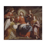 Angels Ministering to Christ in the Wilderness Giclée-tryk af Matteo Rosselli