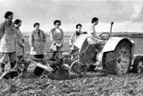 British Girls of the Women's Land Army Learning to Plough with a Tractor, World War II, 1939-1945 Photographic Print