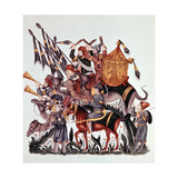 Standard Bearers, Drummers and Trumpeters of a Saracen Army, 13th Century Giclee Print
