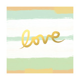 Love Stripes Mint and Gold Art by Linda Woods