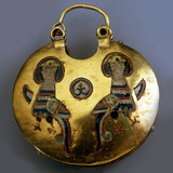 Gold Pendant (Kol) with the Sirin Birds, 11th-12th Century Photographic Print