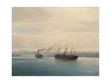 Capture of the Turkish Troopship Mersina by the Steamer Russia on 13 December 1877, 1877 Giclee Print by Ivan Konstantinovich Aivazovsky