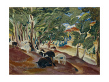 Korolkovskiye Dachas. Sheeps at the Edge of the Forest, 1918 Giclee Print by Alexei Ilyich Kravchenko