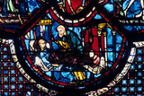 The Good Samaritan Cares for the Pilgrim, Stained Glass, Chartres Cathedral, France, 1205-1215 Photographic Print