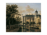 The Nieuwezijds Voorburgwal with the Flower Market, Amsterdam Giclee Print by Gerrit Adriaensz Berckheyde