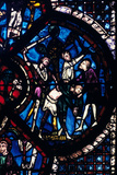 The Pilgrim Attacked by Thieves, Stained Glass, Chartres Cathedral, France, 1205-1215 Photographic Print