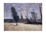 Dunkirk, Ramparts and Entrance to the Harbour Giclee Print by Jean-Baptiste Camille Corot