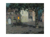 Moonlit City Square in Cherbourg, Ca 1934 Gicleetryck av Henri Le Sidaner