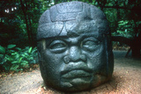 Olmec Carved Head from La Venta, Pre-Columbian, Central America, 1150-800 Bc Photographic Print