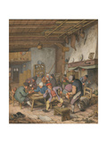 Room in an Inn with Peasants Drinking, Smoking and Playing Backgam, 1678 Giclee Print