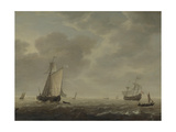 A Dutch Man-Of-War and Various Vessels in a Breeze, C. 1640 Giclée-Druck von Simon de Vlieger