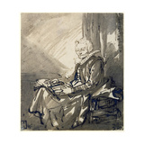 Woman with an Open Book on Her Lap, Ca 1639 Giclee Print by  Rembrandt van Rijn