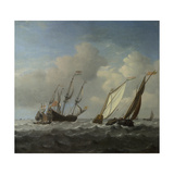 A Dutch Ship, a Yacht and Smaller Vessels in a Breeze, C. 1660 Giclée-Druck von Willem Van De Velde The Younger