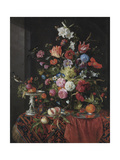 Flowers in a Glass Vase on a Draped Table, with a Silver Tazza, Fruit, Insects and Birds Giclee Print by Jan Davidsz de Heem