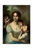 Portrait of Yelena Balashova with Children, C. 1811 Giclee Print by Vladimir Lukich Borovikovsky