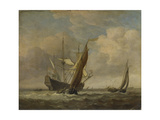 Two Small Vessels and a Dutch Man-Of-War in a Breeze, C. 1660 Giclee Print by Willem Van De Velde The Younger