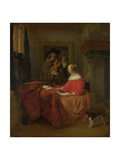 A Woman Seated at a Table and a Man Tuning a Violin, C. 16571658 Giclee Print by Gabriel Metsu