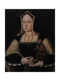 Portrait of Catherine of Aragon, with Her Pet Monkey (Copy after Lucas Horenbou), Ca 1530 Giclée-tryk