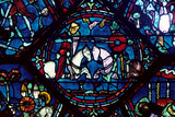 Combat Between Roland and King Marsile, Stained Glass, Chartres Cathedral, France, 1194-1260 Photographic Print