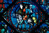 Charlemagne Departs for Spain, Stained Glass, Chartres Cathedral, France, C1225 Photographic Print