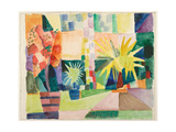 Garden on Lake Thun (Pomegranate Tree and Palm in the Garde), 1914 Reproduction procédé giclée par August Macke