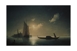 A Gondolier in Venice at Night, 1843 Giclee Print by Ivan Konstantinovich Aivazovsky