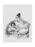 Portrait of Olga Narychkina (Potock) with their Daughter Sophie (1802-186), 1835 Giclee Print by Josef Kriehuber