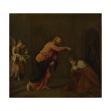 Christ Baptising Saint John the Martyr of Alexandria, C. 1565 Giclée-tryk af Paris Bordone