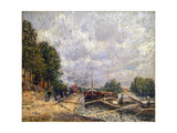 Barges at Billancourt, 1877 Giclee Print by Alfred Sisley