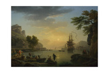 A Landscape at Sunset with Fishermen Returning with their Catch, 1773 Giclee Print by Claude Joseph Vernet